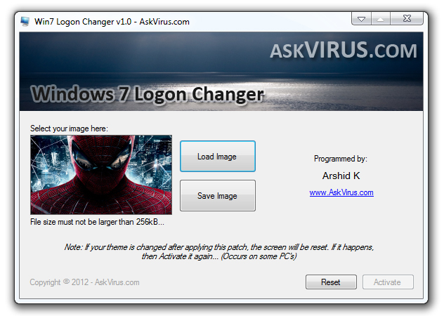 Free Windows 7 Logon Screen Changer! Easy to use, Download